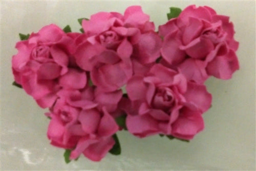 Handmade Mulberry Paper Flowers 5 Stems 3 Cm Hot Pink