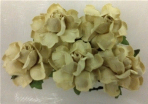 Handmade Mulberry Paper Flowers - 5 Stems (3 cm) - Cream