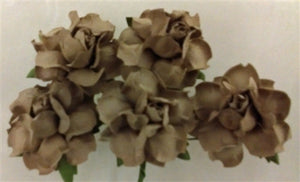 Handmade Mulberry Paper Flowers - 5 Stems (3 cm) - Coffee