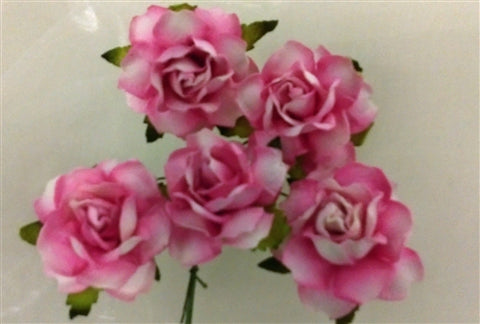 Handmade Mulberry Paper Flowers - 5 Stems (3 cm) - White with a Pink Tinge