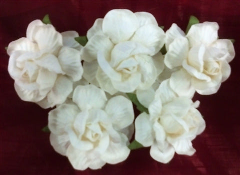 Handmade Mulberry Paper Flowers with Textured Petals - White - 5 Stems (4 cm)