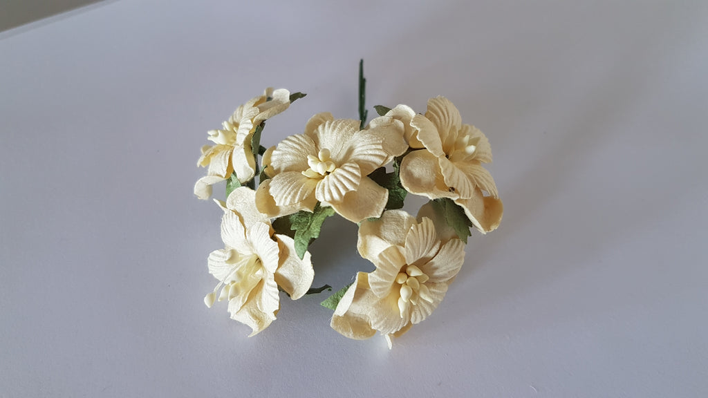 Handmade Mulberry Two Layered Paper Flowers 5 Stems 3 Cm Cream