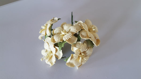 Handmade Mulberry Two Layered Paper Flowers - 5 Stems (3 cm) - Cream | Hobby Craft and Scrap