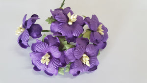 Handmade Mulberry Two Layered Paper Flowers - 5 Stems (3 cm) - Purple
