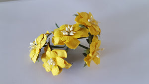 Handmade Mulberry Two Layered Paper Flowers - 5 Stems (3 cm) - Yellow