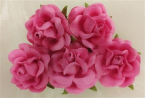 Handmade Mulberry Paper Flowers - 5 Stems (4 cm) - Hot Pink