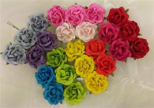 Handmade Mulberry Paper Flowers Mixed Colours Brights 25 Stems 4 Cm