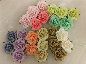 Handmade Mulberry Paper Flowers Mixed Colours - Pastels - 25 Stems (4 cm)