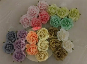 Handmade Mulberry Two Layered Paper Flowers - 5 Stems (3 cm) - 3 Lemon & 2 Apricot