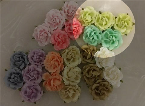 Handmade Mulberry Two Layered Paper Flowers 5 Stems 3 Cm 2 Lime 3 Green