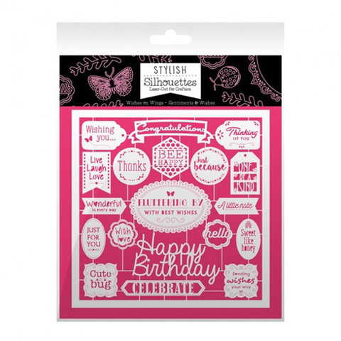 Hunkydory - Intricate Laser - Cut designs (Stylish Silhouettes) - Wishes On Wings/Sentiments & Wishes - 6 x 6