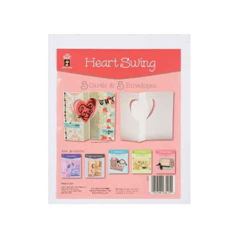 Hot Off The Press - Die Cut Card with Envelope - Heart Swing (5/Pkg)