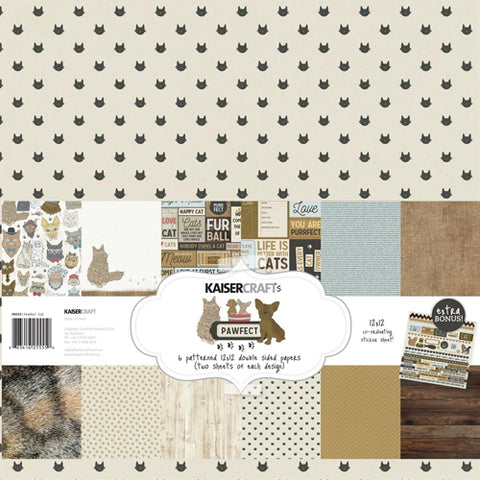 "Kaisercraft Paper pack 12x12"" with bonus Sticker sheet - Pawfect Cat"
