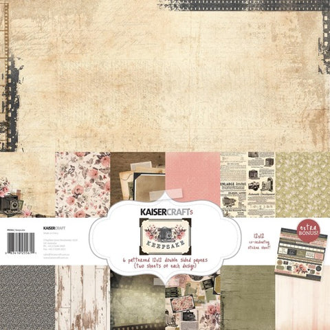 "Kaisercraft Paper pack 12x12"" with bonus Sticker sheet - Keepsake"