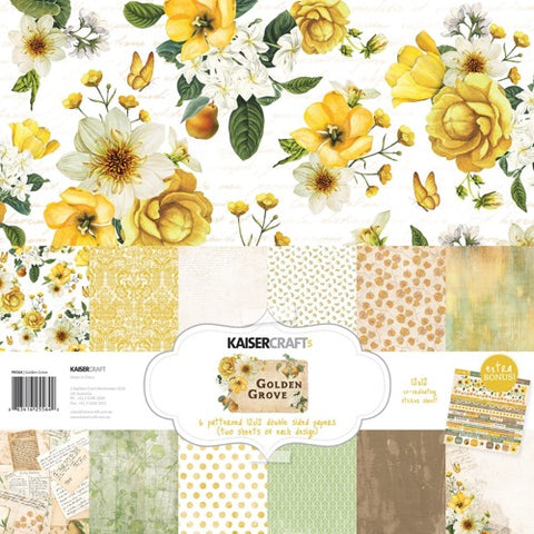 "Kaisercraft Paper pack 12x12"" with bonus Sticker sheet - Golden Grove"