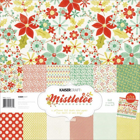 "Kaisercraft Paper pack 12x12"" with bonus Sticker sheet - Mistletoe"