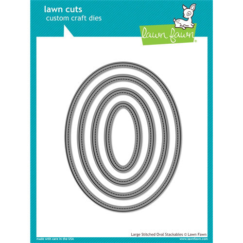 Lawn Fawn Die - Large Stitched Oval Stackables