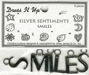 Memory Mates Buttons - Silver Sentiments - Smiles