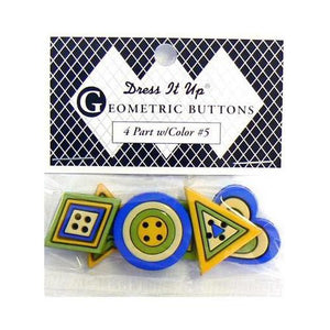 Memory Mates Buttons - Geometric Buttons 4 Part w/Color No.5 (Blue/Green/Yellow)