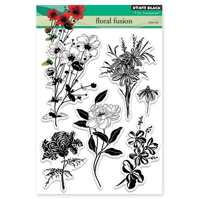Penny Black - Clear Stamps - Floral Fusion (5x7)