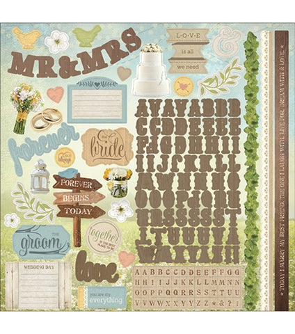 Paper House - Cardstock Sticker Sheet - Wedding Day (12 x 12)
