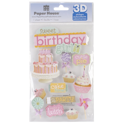 Paper House - 3D Stickers - Birthday Girl