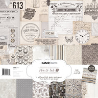 "Kaisercraft Pen & Ink Collection - 12x12"" Paperpack with Bonus Sticker sheet"