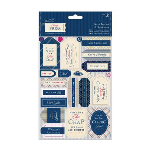 Papermania - Die-cut Toppers and Sentiments (2pk) - Heritage Press