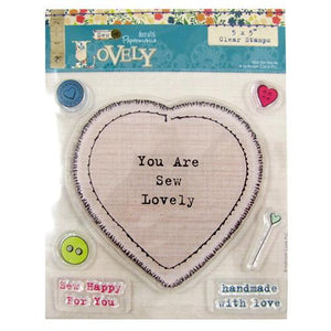 Papermania - CE 43 - 5 x 5 inch  Clear Stamp - Sew Lovely