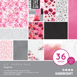 "Kaisercraft Magenta Collection  - 6.5"" Paper Pad 