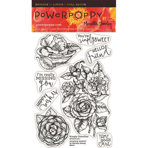 Power Poppy by Marcella - Clear Stamps - Simply Camellias (4 x 6 Inches)