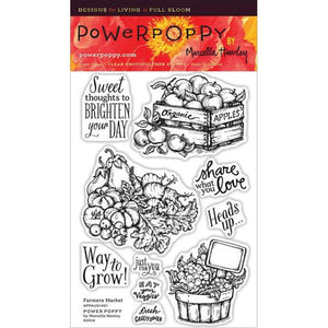 Power Poppy by Marcella - Clear Stamps - Farmers Market (4 x 6 Inches)