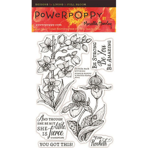 Power Poppy by Marcella - Clear Stamps - Orchids Rock (4 x 6 Inches)