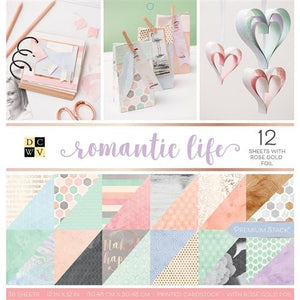 "DCVW Double-Sided Paper Stack 12""x12"" 36/Pkg - Romantic Life W/Rose Gold Foil"