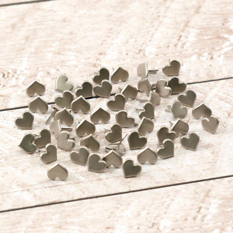 Paper Stud Cupid Heart Large Brushed Silver 50pk WH