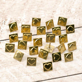 Paper Stud Metal Heart in Square Gold 25pk WH