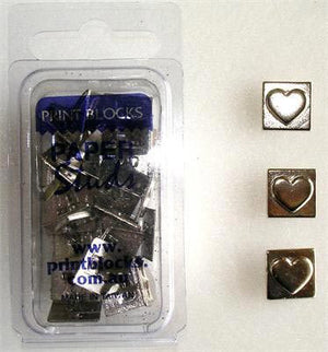 Paper Stud Metal Heart in Square Silver 25pk