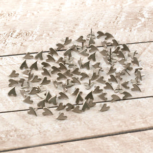 Paper Studs Primitive Heart Brushed Silver 100pk WH