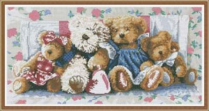 Complete Cross Stitch Kit - Teddys on Bed