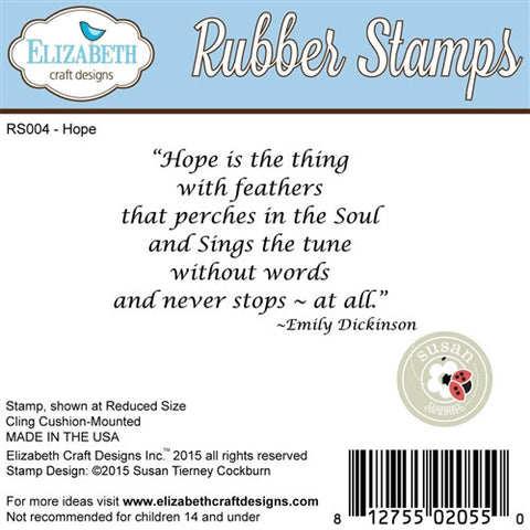 Elizabeth Craft Designs - Cling Stamp - Hope Is