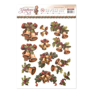 Amy Design - Christmas Greetings A4 Decoupage Sheet, Bells and Holly