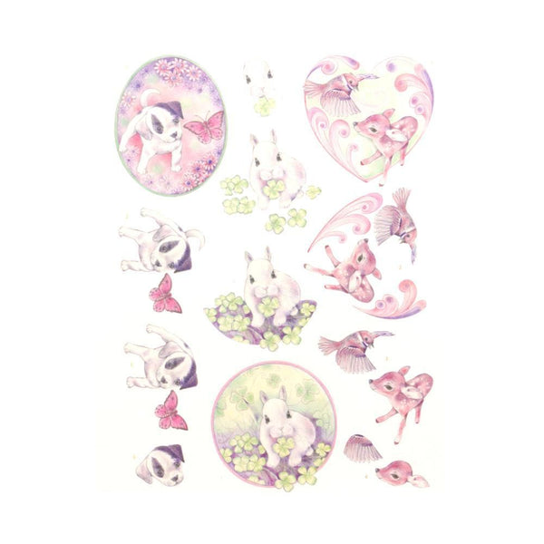 Jeanine's Art Young Animals - 3D Diecut Decoupage Push Out Kit, Cuties in Purple