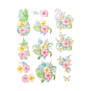 Yvonne Creations Happy Tropics - 3D Diecut Decoupage Push Out Kit, Tropical Flowers