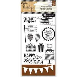Hampton Art - Stamp & Stencil Set - Birthday
