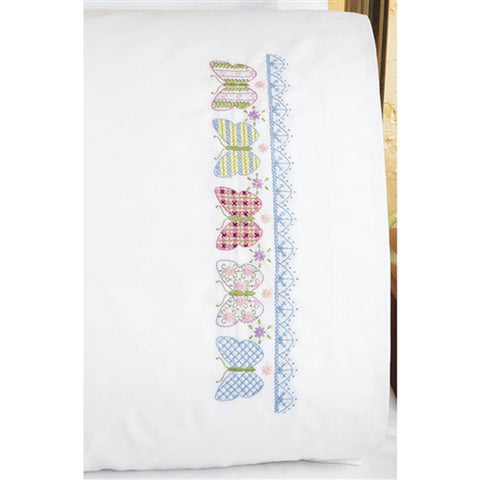 Janlynn - Stamped Cross Stitch Pillowcases - Butterfly