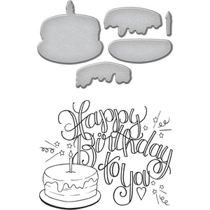 Spellbinders Stamp & Die Set By Tammy Tutterow - Happy Birthday Cake