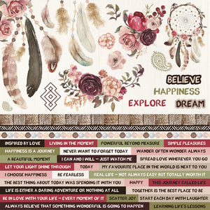Kaisercraft Gypsy Rose Collection - 12x12 Printed Sticker Sheet