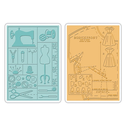 Sizzix - Textured Imp - Emboss Folders 2PK - Retro Sewing