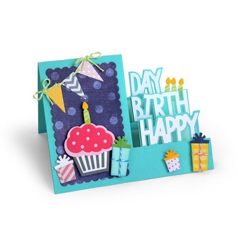 Sizzix Framelits Die Set 19PK - Card, Happy Birthday Step - Ups by Stephanie B