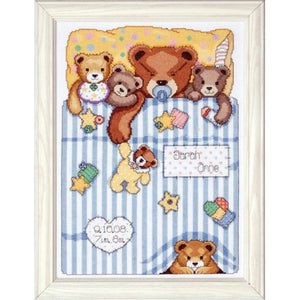 Tobin Home Crafts - Counted Cross Stitch Kit - Birth Record - Under the Covers (11 x 14)